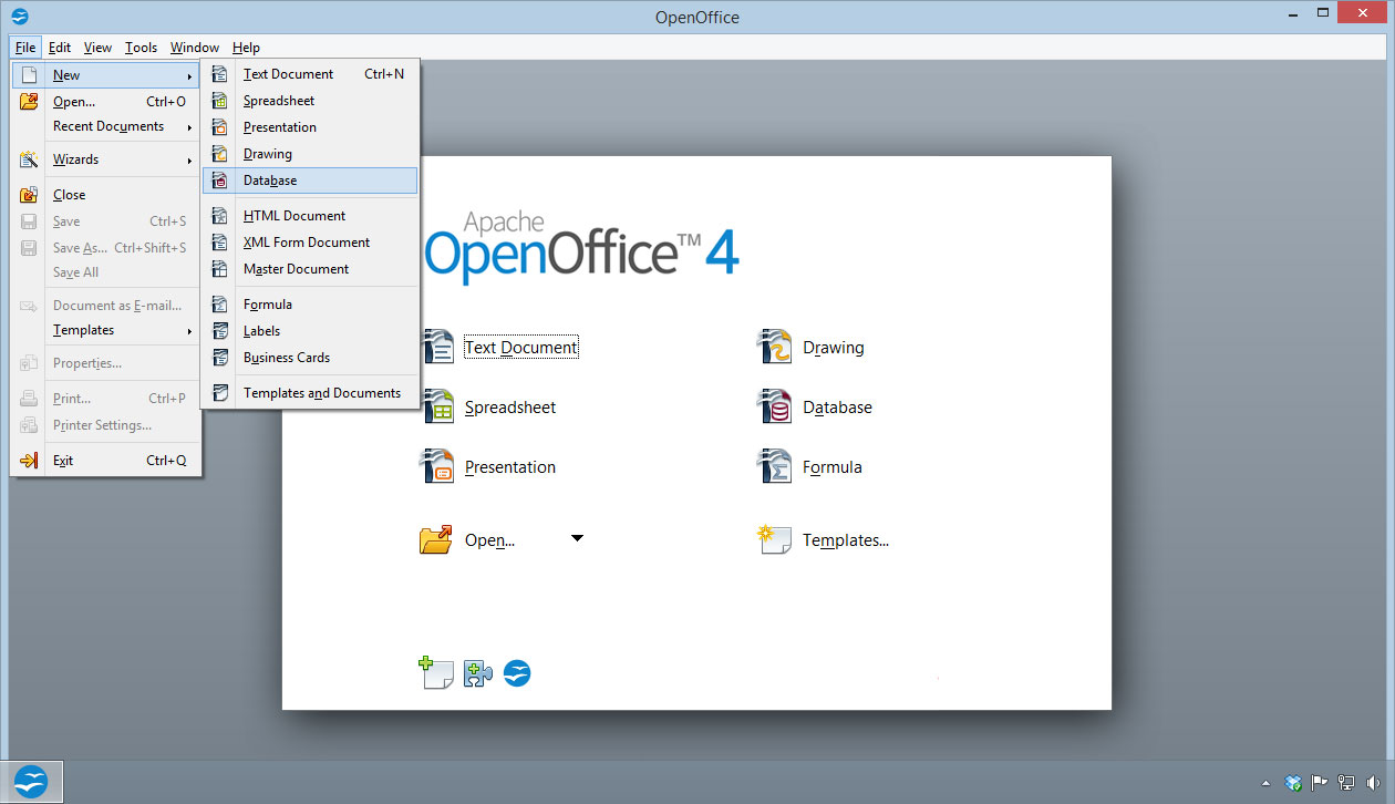 open office database templates
